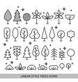 Linear style trees icons vector image