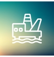 Oil platform thin line icon vector image