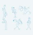 six schoolchild set vector image