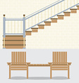 Interior Bricks Wall With Stairs And Wooden Chairs vector image