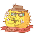 sun character with flowers vector image vector image
