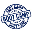boot camp blue grunge round vintage rubber stamp vector image