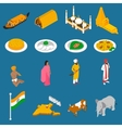 Indian Touristic Attractions Isometric Icons vector image
