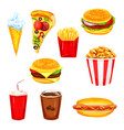 fast food restaurant lunch menu watercolor set vector image
