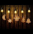 gingerbread man tree and stars vector image