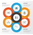 trade flat icons set collection of presenting man vector image