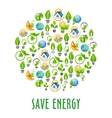 Energy saving round symbol with green power icons vector image