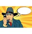 Surprised retro businessman talking on the phone vector image