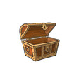opened empty wooden treasure chest vector image