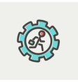 Man running inside the gear thin line icon vector image
