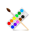 Watercolor paint palette isolated on white vector image