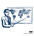 Man with world map vector image vector image