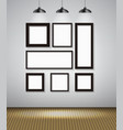 Abstract Gallery Background with Lighting Lamp and vector image