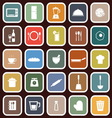 Kitchen flat icons on red background vector image