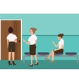 woman waiting in uniform for interview job sitting vector image