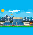 international airport in mountains concept vector image