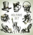 Hand drawn Holidays set vector image vector image