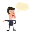 cartoon complaining man with speech bubble vector image