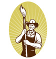 cowboy painter holding a paint brush facing f vector image