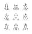 Line Style Medical Avatar Rescuers icon set vector image