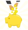 Hand putting money in piggy bank vector image