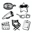 Cinema doodles icons vector image
