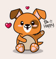color background with cute kawaii animal dog vector image