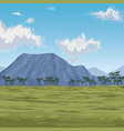 color scene african landscape with mountains and vector image