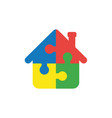 flat design concept of house shape puzzle pieces vector image