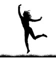silhouette of woman jumping outdoor vector image