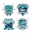 Fishing sport club heraldic badge set design vector image