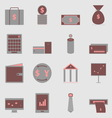 Business color icons on gray background vector image