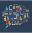 Abstract bubble of flat icons phones vector image