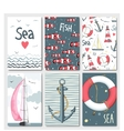Set of 6 cute cards templates with marine design vector image