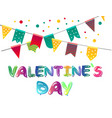 valentines day with balloons card vector image