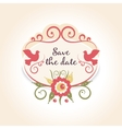 vintage wedding badge with floral decoration A vector image