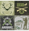 Hunting Square Icon Set vector image