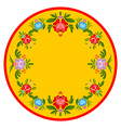 Gorodets painting plate Russian national folk vector image