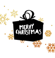 Merry Christmas Postcard With gift box and gold vector image