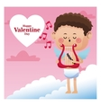 happy valentine day cupid sing music harp note vector image