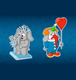 stickers elephants elephant on the scales clown vector image