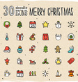 30 Colorful Merry Christmas Icons vector image