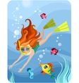 diver girl vector image vector image