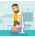 Man in gym sport workout exercises vector image