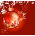 christmas background with ball and snowflakes vector image vector image