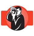 photographer aiming slr camera vector image