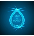 Abstract blue shiny water drop on dark background vector image