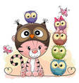 Cute cartoon tiger and five owls vector image