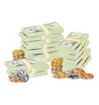hundreds dollars packing in bundles of bank vector image