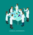 Isometric chemical research template vector image